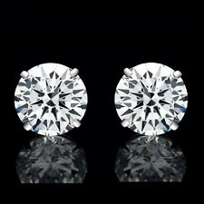 4.00 CT ROUND CUT CREATED DIAMOND EARRINGS 14K SOLID WHITE GOLD STUDS SCREW-BACK
