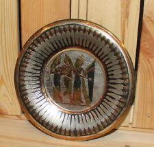 Vintage Egyptian ornate metal wall hanging plate