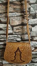 Real De Cuero Silla Bolsa/Bolso De Mano, Marrón, Fairtrade, hecho a mano de Marruecos