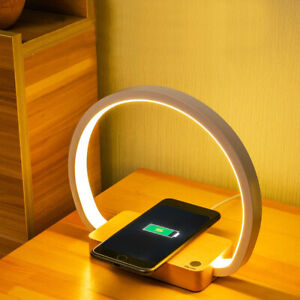 USB Charge LED Table Lamp Wireless Phone Charger Reading Study Light DimmableUK
