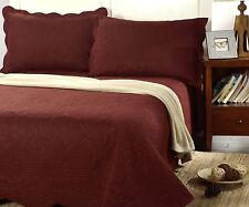 Tache Pinsonic Solid Brown Marsala Lightweight Reversible Bedspread Coverlet Set