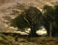 Gust of Wind Camille Corot Fine Art Painting Print on CANVAS Small Giclee Poster