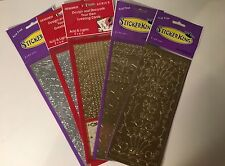 Birthday, Holiday, Gift, Scrapbook or Craft Foil Stickers in Gold or Silver