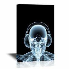 wall26 - Canvas Wall Art - Skeleton X-Ray Music Dj - Ready to Hang -16x24 inches