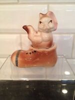 Vintage Ceramic Salt And Pepper Rabbit And Shoe Shakers