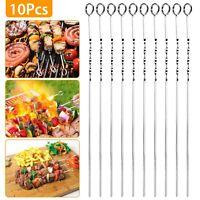 "10PCS BBQ Barbecue Stainless Steel Grilling Kabob Kebab Flat Skewers Needle 16"""
