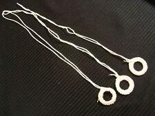 "New 3 pc Crochet Roller Shade Ring Pulls 1 5/8"" x 12"" lg White"