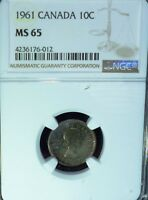 1961 CANADA 10 CENTS NGC MS65