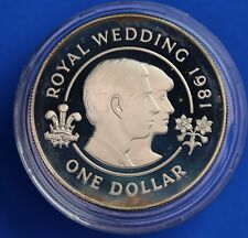 More details for 1981 royal wedding silver proof 28g - bermuda one dollar $1   [22681]