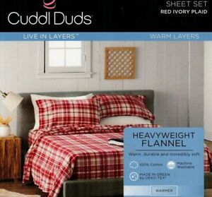 NIP Cuddl Duds FULL 100% Cotton Heavyweight FLANNEL SHEETS - red ivory plaid