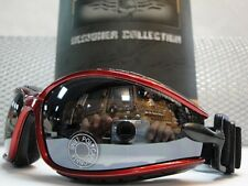PADDED MOTORCYCLE RIDING GLASSES GOGGLES With Strap Red & Black Frame Dark Lens