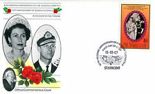 St VINCENT 1987 QUEEN 40th WEDDING ANNIVERSARY $1 ON OFFICIAL FIRST DAY COVER