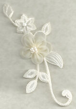 Flower Strip - Cream W/Beads - Embroidered Details - Iron On Applique Patch