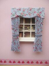 MINIATURE DOLLS HOUSE CURTAINS WITH PELMET  - BLUE PINK FLORAL NEW