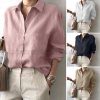 ZANZEA Women Linen Cotton Casual Buttons Down Tops Solid Tunics Shirt Blouse Tee