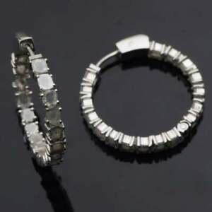 Natural Polki Diamond Earrings 925 Sterling Silver Huggie Hoop Round Earrings