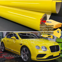 "24"" x 60"" Super Gloss Yellow Vinyl Film Wrap Sticker Air Bubble Free 2ft x 5ft"