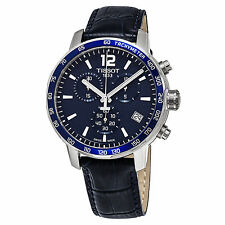 Tissot Men's Quadrato Blue Leather Chronograph Swiss Quartz Watch T0954171604700