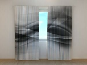 Photo Curtain Printed Black and White Abstractions Wave Wellmira Made to Measure
