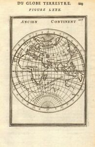 EASTERN HEMISPHERE. Shows incomplete Australian coastline. MALLET 1683 old map