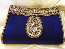Royal Blue Gold Handbag Clutch Wallet Bollywood EID Indian Dress Purse Art Silk