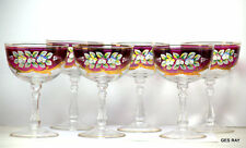 CZECH GLASS BOHEMIAN GLASS RUBY RED HAND PAINTED 24KT ENAMEL SHERBET GLASSES