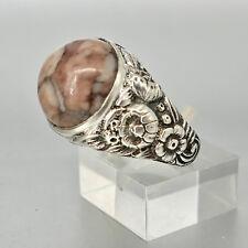 Aussergewöhnlich schöner Ring aus Silber 835, Achat, antik, Grösse 60, 9,7 Gr.