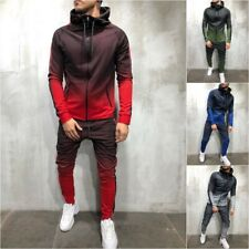 UK Mens 2Pcs Hoodies Tops Trousers Casual Tracksuit Set Gym Jogging Sports Suit