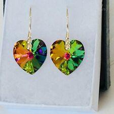 Swarovski Elements 925 Silver Heart Earring 14mm Crystal Jewellery Vitrail M