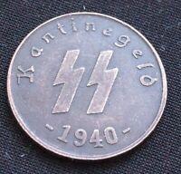50 REICHSPFENNIG 1940 SS KANTINEGELD GERMAN COIN THIRD REICH WW2 HITLER
