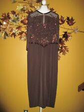 JOVANI Brown Maxi Evening Mother of the Bride Cruise Dress  16 / 14