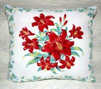 Vintage Wilendur Day Lily Farmhouse Mid Century Tablecloth Lumbar Throw Pillow