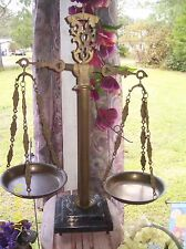"""Antique  Made in Italy """"Scales of Justice"""" Brass with Marble Base"""