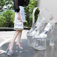 Skyhigh Platform Transparent Sandals Crystal Jelly High Heels 18cm Women Shoes