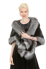 Ranch Female Real Mink Fur Cape Stole for Women Natural Silver Fox Trim The Lana