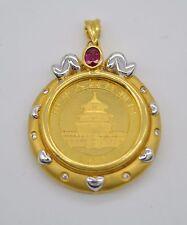 #JC122 1/10oz 10 YUAN FINE CHINA PANDA GOLD 1995 COIN 14K DIAMOND BEZEL PENDANT