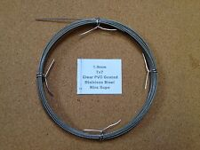 1-1.2mm x 10m Clear PVC Coated Stainless Steel Wire Rope 7x7 18/8 304 INOX