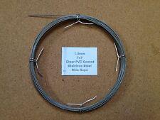 1-1.2mm x 10m PVC TRASPARENTE Rivestita Fune in Acciaio Inox 7/7 18/8 304 INOX