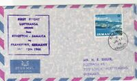 Jamaica 1966 1st Flight LH Kingston-Frankfurt Airmail Stamps Cover Ref 29428
