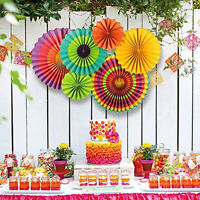 6Pcs Fiesta Paper Fans Hanging Decoration for Event Party Wedding Birthday Home