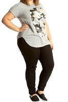 New Ladies Plus Size Printed Glitter Camo Skull Casual Short Sleeve T-Shirt Top