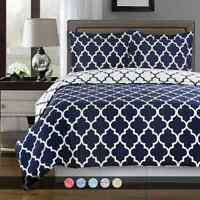 Reversible Soft Elegant Printed Meridian 100% Cotton Duvet Cover Set with Shams