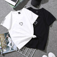 Fashion Women's Casual Summer Short Sleeve Couple Heart T-Shirt Blouse Tops