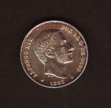 1885 SPAIN Philippines Alfonso XII 20 centimos SILVER Beautiful Gold toning AU