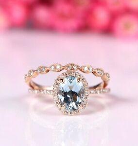 2 Ct Oval Cut Aquamarine Diamond Bridal Engagement Ring In 14K Rose Gold Finish
