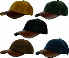 23d6672d99461 Mens Wax Baseball Cap Leather Peak Fishing Shooting Outdoor Waxed Hat New