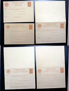 RUSSIA  1929  SET OF  5  DOUBLE STATION. CARDS  5  LANGUAGES   Mi € 260,-