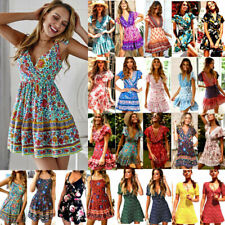 Women's Summer Boho Short Mini Dress Floral Party Beach Holiday Swing Sundress