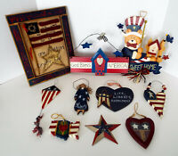 Patriotic Decor Lot Americana Folkart Signs Ornaments Huge July 4th Collection