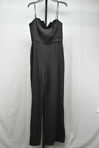 WAYF Wide-Leg Spaghetti Strap Crepe Jumpsuit, Women's Size L, Black NEW